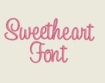 Sweetheart Embroidery Font- 3 Sizes Alphabets Font Script Font for Embroidery Sweetheart embroidery font, Machine Embroidery Font
