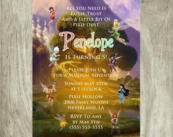 Tinker Bell Disney Fairy Birthday Invitation Personalized Printable Digital 5x7 file
