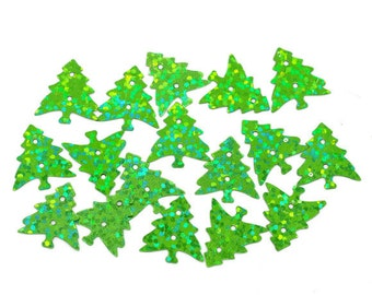 100 16 x 15mm Holographic Green Tree Sequins