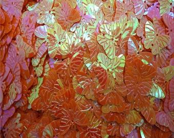 60 20mm Butterfly Sequins - Iridescent Orange