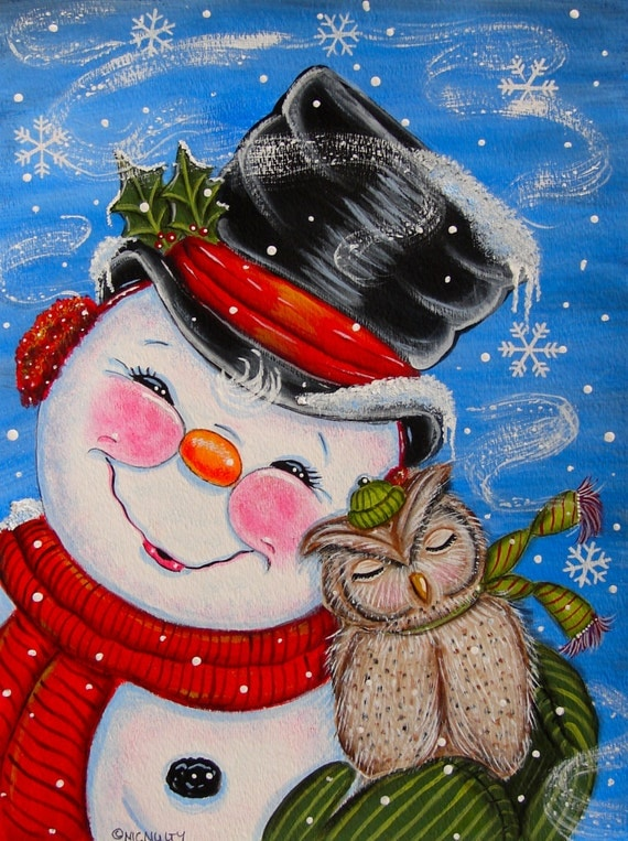 Items Similar To Snowman With Cuddly Owl Print Of Acrylic