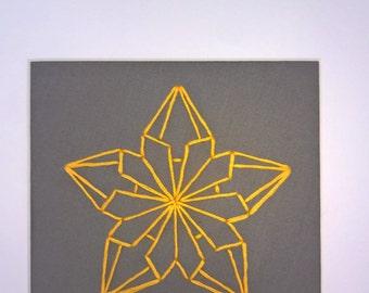Origami inspired framed flower embroidery
