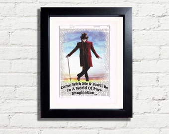 Willy Wonka Come With Me World Of Pure Imagination Inspirational Quote Art Print INSTANT DIGITAL DOWNLOAD A4 Printable Pdf Jpeg Home Decor