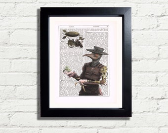 Vintage Steampunk Plague Doctor Crow Man INSTANT DIGITAL DOWNLOAD Strange Wall Art Print  Dictionary Page Style Home Decor Wall Hanging