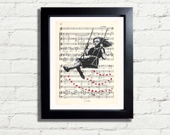 Banksy Art Girl on swing  Graffiti Wall Art Print INSTANT DIGITAL DOWNLOAD A4 Printable Pdf Music Lovers Wall Hanging Home Decor Gift Idea
