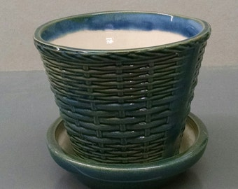 Twilight Blue Wicker Weave Pot And Tray--Hand-Painted--Glazed Ceramic Bisque--Home-Patio-Garden Decor--Seasonal-Year Round Usage