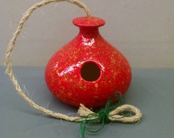 Firecracker Round Squatty Birdhouse--Hand-Painted--Glazed Ceramic Bisque--Home-Patio-Garden Decor--Seasonal-Year Round Usage