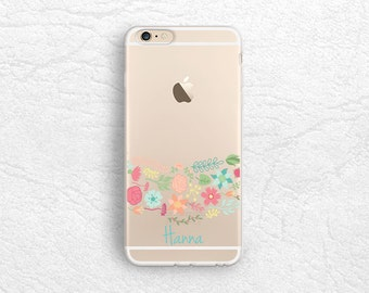 Floral pattern iPhone 7, Google Pixel transparent soft rubber clear monogram personalized custom name case for Samsung S8, LG G6, Nexus 5X