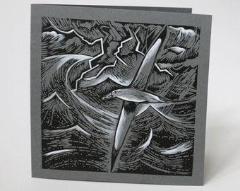 Coded Storm - Lino Print Greeting Card - Albatross