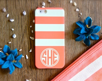 Personalized iPhone Case Monogrammed iPhone 6s Case Monogram iPhone 6s Plus Case iPhone 5s Case Stripes iPhone 6 Case iPhone 5C Case