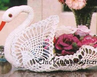Crochet  Swan PDF Pattern ... 1970's Pattern ... Ornamental Swan ... Gift, Wedding, Party ... Home Decor ... Instant Download Pattern