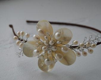 Freshwater pearl side tiara, bridal tiara, bridal hair accessories hair piece hairband hairpiece, tiara wedding hair accessories hair piece