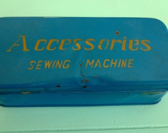 Vintage Sewing Machine Accessories Blue Tin Box Free Shipping