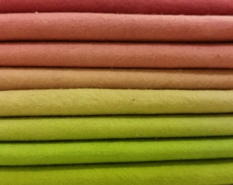 "Hand dyed cotton fat quarters for quilting, gradation of grape to green, ""Grape Arbor"""