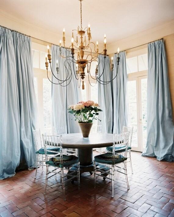 Porcelain Blue Silk Curtain Dupioni Silk By