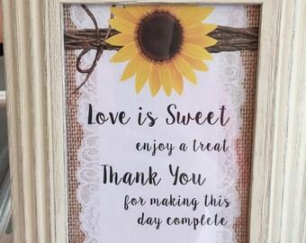 Sunflower Candy Buffet Sign