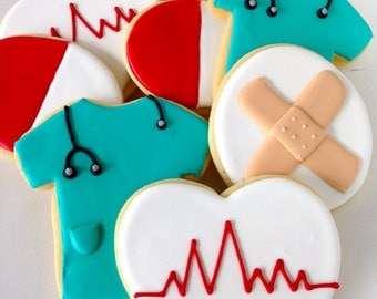 Sugar Cookie Gift Nurses Doctors Medical Physician Assistants - One Dozen