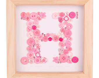 Personalised button initial artwork - pink