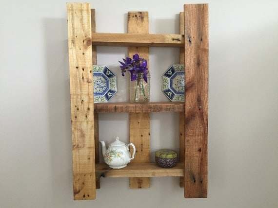 wood rustic wall shelf wall mounted home decor by. Black Bedroom Furniture Sets. Home Design Ideas