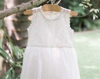 Caroline Vintage White Flower Girl Dress, Toddler Dress, Girl Dress, Baptism Dress, Christening Dress