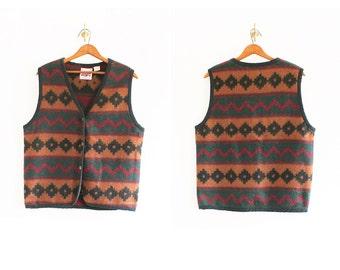 1990s No Excuses southwestern pattern wool vest