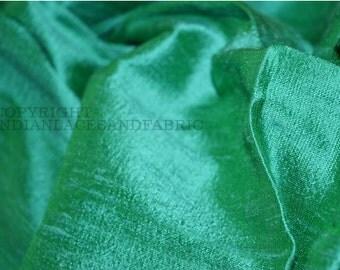 Pure Dupioni Silk - raw silk fabric by yard in Sea Green, Indian dupioni silk for wedding dresses