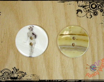 5 pearl buttons printed, mm. 23, 2 holes