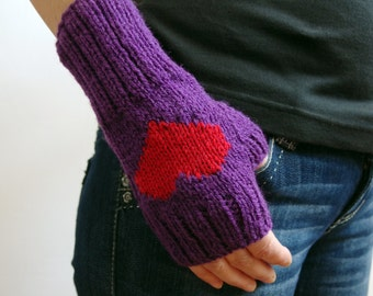 Knit heart gloves, fingerless gloves, purple gloves, hand warmers, knitted gloves, knit wrist warmers, knitted fingerless gloves womens gift