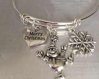 Snowman christmas bracelet, merry christmas bracelet, holiday jewelry, holiday bracelet, snowman charm bracelet