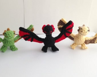 Game of Thrones - inspired Crochet Amigurumi Dragons: Drogon (black), Rhaegal (green), or  Viserion (gold)