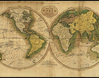 "World Map Circa 1800's Mounted on Poster Board With Black Edging 21""H x 36""W"