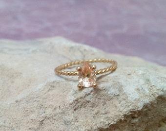 SALE! Champagne Ring,Peach Crystal Ring,Citrine Ring,Gold Ring, Gemstone Ring, Stacking Ring,November  Ring,Teardrop Ring, Tiny Ring