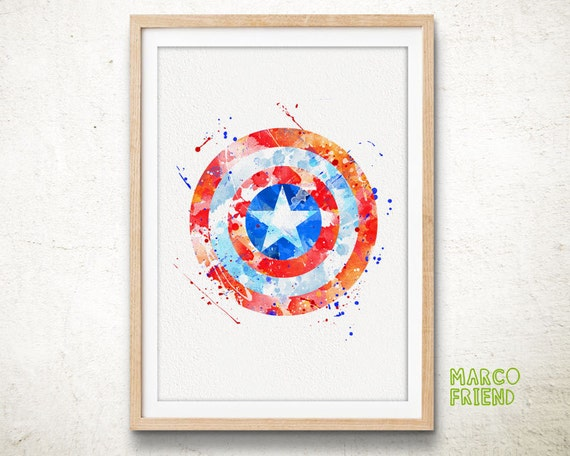 Captain America Shield Watercolor Art Print Home By