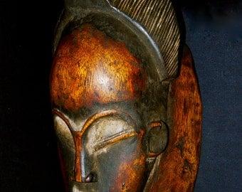 Baule Tribal Carved Wood Portrait Mask Nice Patina African *02