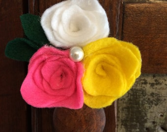 Tri Colored Felt Rose Clip with pearl detail