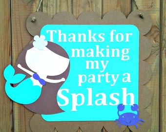 Mermaid Party Door Sign - under the sea - girl birthday - decorations - party supplies - thank you sign