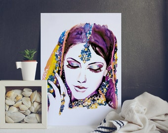watercolor Portrait Painting - Asian Beautiful Woman - India Wall Art Poster - Home Decor