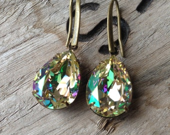 Swarovski tear drop earrings, Luminous Green
