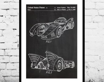 Batman Batmobile Print, Batman Batmobile Patent, Batman Batmobile Poster, Batman Batmobile Art, Batman Batmobile Decor, Batman Art p344