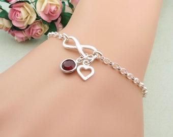 Personalized Infinity Bracelet, Infinity Jewelry, Sterling Silver Friendship Bracelet, Silver Infinity, Personalized Birthstone Bracelet