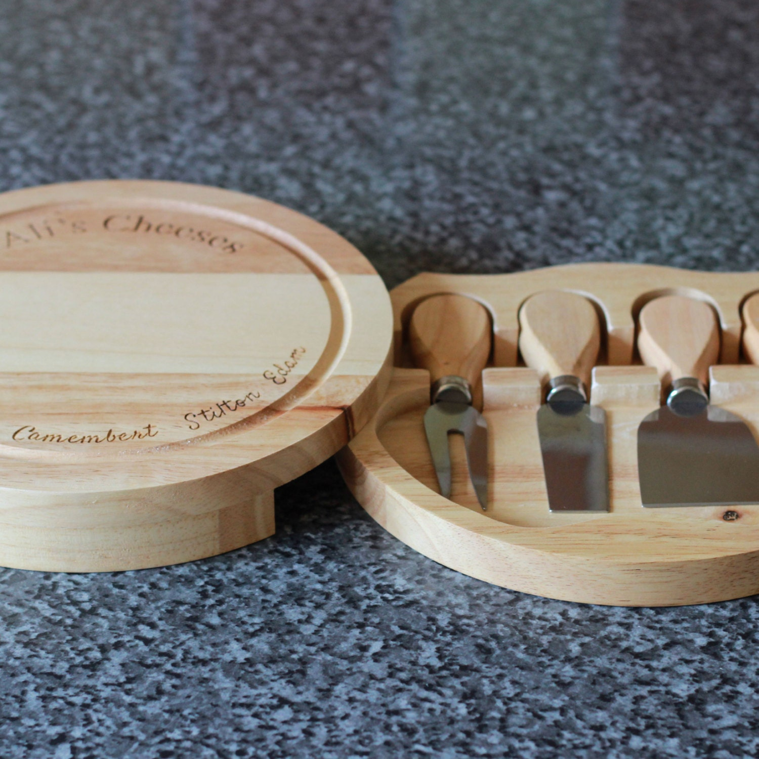 Personalised Wooden Cheese Board With Four Cheese Knives