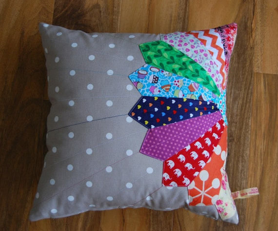 Quilting Patterns For Pillow Covers : Items similar to REDUCED Rainbow applique patchwork cushion cover dresden plate design home ...