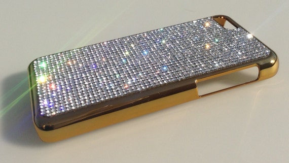 iPhone 5C Clear Diamond Crystals on Gold-Bronze Electro Plated Plastic Case. Velvet/Silk Pouch Bag Included, Genuine Rangsee Crystal Cases.