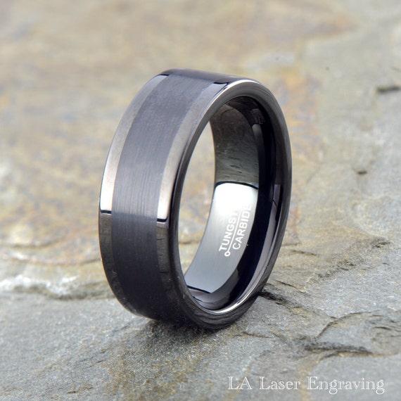 black brushed tungsten carbide wedding band mens brushed tungsten