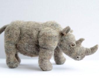Needle Felted Rhinoceros, Needle Felted Rhino, Rhinoceros Sculpture, Rhino Sculpture
