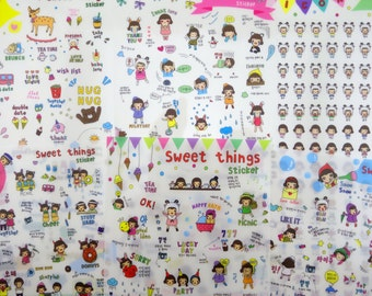 6 pages Korean girl stickers - kawaii emoticon faces - cute relationship couple - boyfriend girlfriend - sweets treat tea - planner calendar