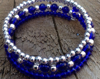 Blue silver bracelet, royal blue and silver beads, blue beaded memory wire bracelet, blue glass bead bracelet, blue and silver wrap bangle