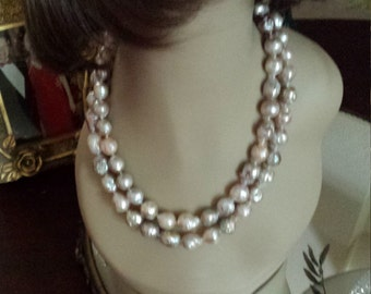 boroque pearl two strand necklace