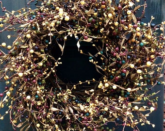 Grapevine Wreath- Pip berry Wreath with Reds,Browns, Tan and Sage - --FREE SHIPPING