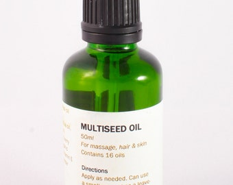 60ml Multiseed oil, handmade and natural. Contains 16 oils